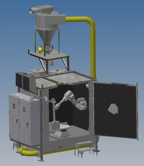 robotic peening machine Front ISO View Door Open-Jan 2020
